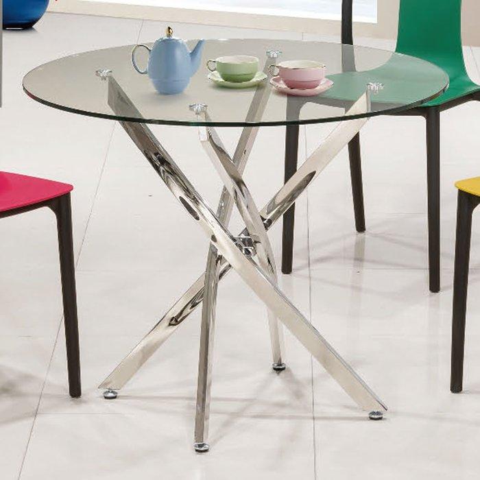 【優比傢俱生活館】19 便宜購-616不鏽鋼腳3尺玻璃休閒圓桌/餐桌 SH826-5