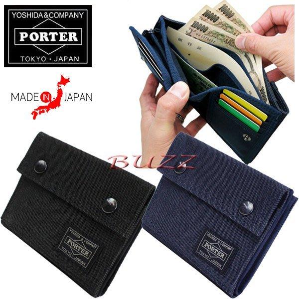 巴斯  日標PORTER屋-黑色 藍色現貨 PORTER SMOKY 超人氣短夾-皮夾 592-06370