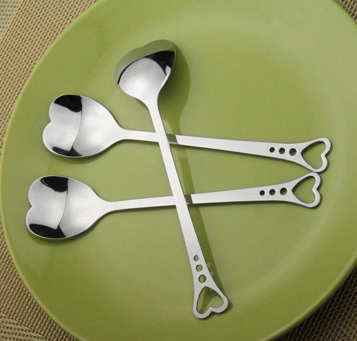 聚吉小屋 #愛心優質不銹鋼咖啡勺鏤空甜品勺奶茶勺心形勺子攪拌勺MjLxicANnJ