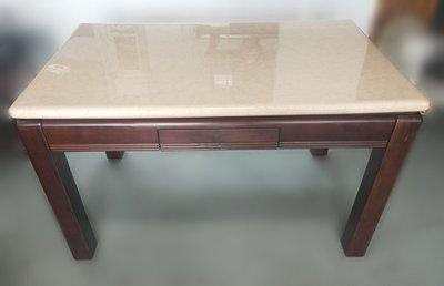 【宏品二手家具館】全新中古傢俱拍賣 E8155*胡桃大理石面餐桌*書桌 辦公桌 茶几 會議桌 戶外休閒桌 麻將桌 電腦桌