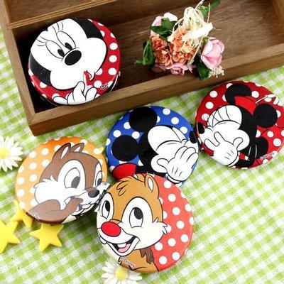 【Disney 】可愛圓形雙面折疊鏡/化妝鏡/隨身鏡-點點 米奇 米妮 奇奇蒂蒂  #鏡子 #化妝鏡 #隨身鏡