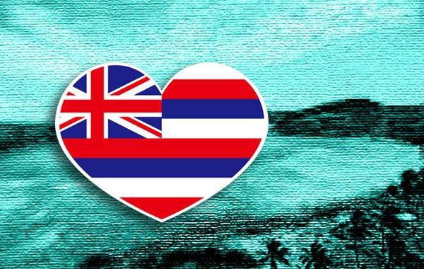 【衝浪小胖】夏威夷州旗抗UV、防水愛心形登機箱貼紙/Hawaii/各國都有販賣和客製