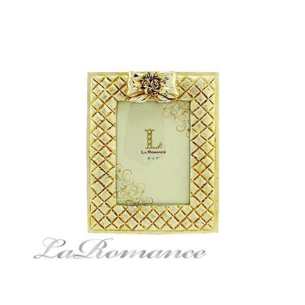 【芮洛蔓 La Romance】蝴蝶結金銀箔5 x 7相框 (中) / 相本 / 照片 / 紀念日 / 結婚禮物