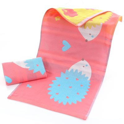 BabyFace【三層紗】2色卡通刺蝟 紗布料 寶寶大人小孩擦澡巾卡通大全棉洗臉巾 (34*76)