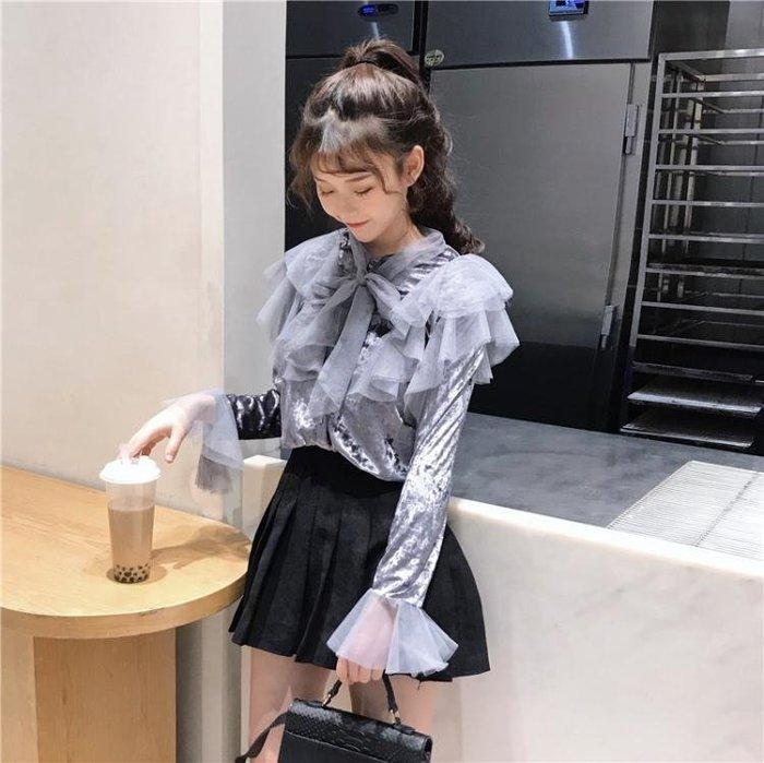 蕾絲/雪紡衫 甜美系帶蝴蝶結蕾絲打底衫學生長袖上衣女裝冬季