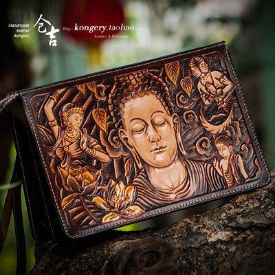 ℘一間*視覺↳御級手工錢包男女長款拉鏈包牛皮雕刻錢包皮夾真皮財布皮包手拿包cj-286
