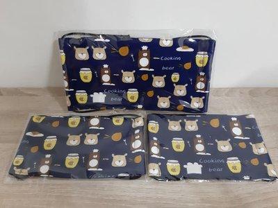 【小茉莉】手作大人平面口罩/台灣棉布手作口罩→蜂蜜與熊-深藍