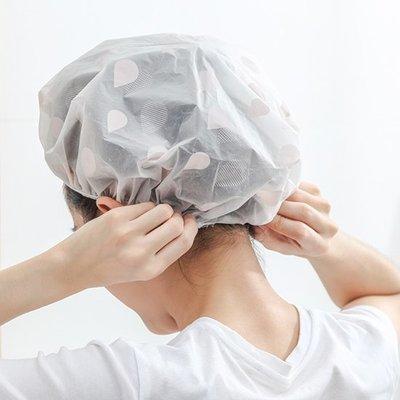 現貨 洗澡帽 染髮 沐浴 防油煙 彩色 波點 水滴 頭髮罩 頭髮罩 鬆緊帶❃彩虹小舖❃【Q120】印花 防水 浴帽
