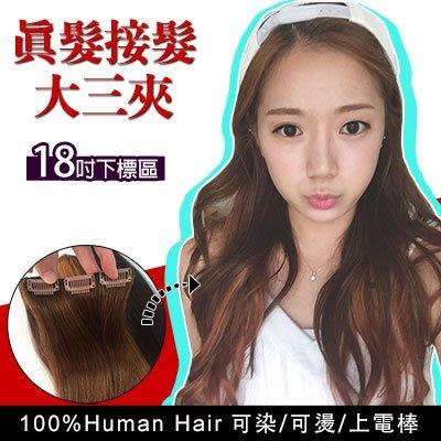 18吋大三夾 下標區100%真髮可染可燙電棒 真髮接髮片加長增量【BR03】☆雙兒網☆