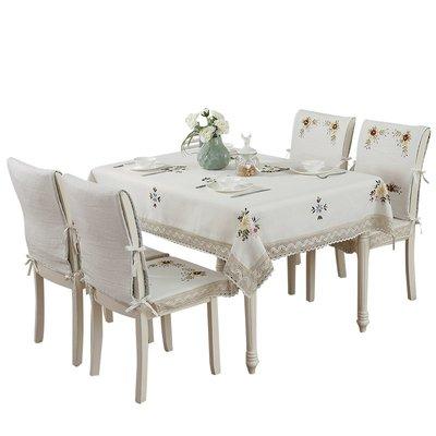 田園布藝棉麻桌布椅套坐墊套裝餐廳圓桌臺布茶幾布電視床頭柜蓋布