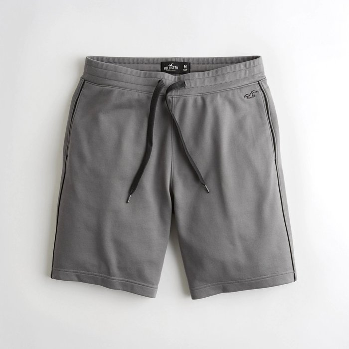 【HOLLISTER Co.】【HCO】】HC男款運動短褲小鷗雙黑條灰 F09190725-03