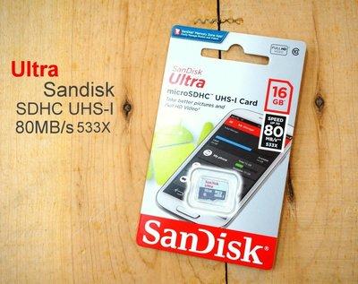 ~中壢NOVA~水世界~SanDisk ULTRA 16G Micro SDHC~80MB s 533X~ 貨