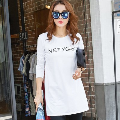 =EF依芙=韓國首爾 時尚精品 東大門同步蒙麗3209 卡薇兒邦威858S碼~2XL碼 寬鬆中長款純棉女裝長袖t恤潮