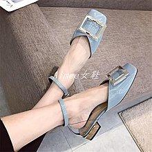 Empress丶2019春夏新款正韓金屬方扣漆皮方頭低跟女鞋子淺口一字帶中空單鞋
