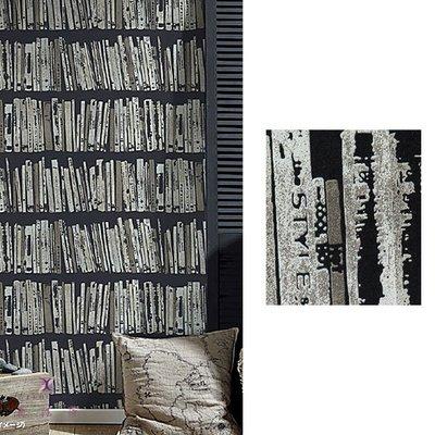 【夏法羅 窗藝】日本進口 仿舊 低調時尚奢華 仿書櫃 壁紙 CF_086478