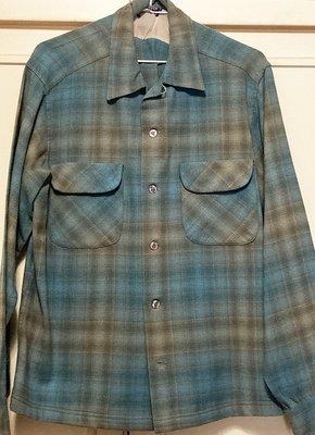 Pendleton 藍灰格紋羊毛襯衫L號