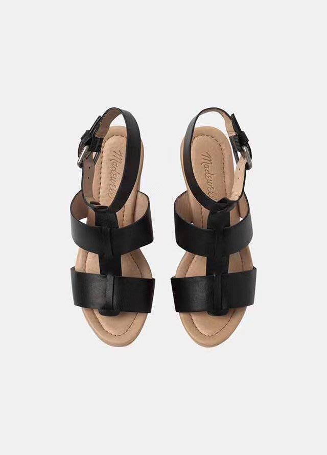 ╭☆包媽子店☆Madewell 復古粗跟牛皮高跟鞋涼鞋((2色特價))有大碼~
