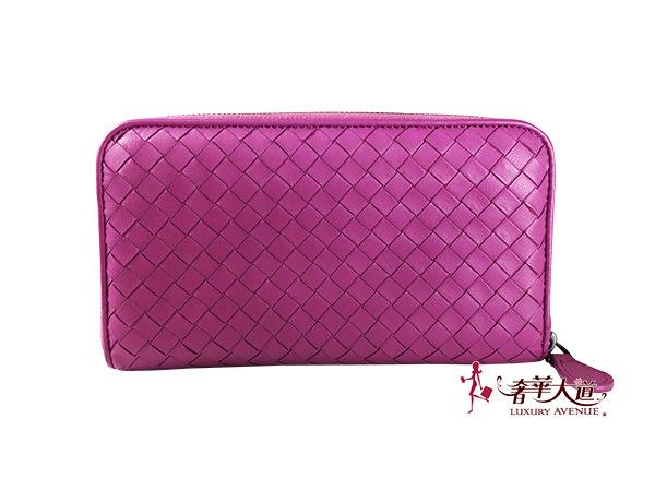 *奢華大道國際精品*【BV166】BV 桃紫色小羊皮編織ㄇ字長夾