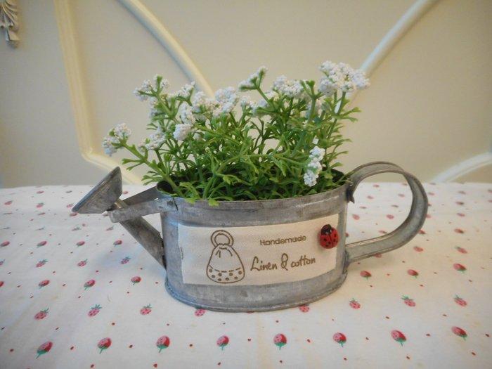 ~~凡爾賽生活精品~~全新馬口鐵澆花器小白花造型小盆栽擺飾