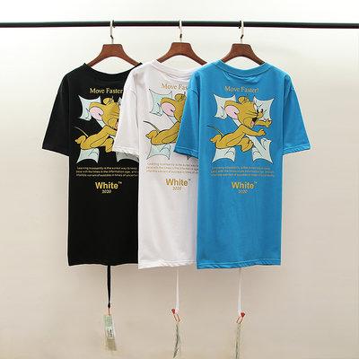 【潮流國際】O*F WH**E原單情侶款聯名復古卡通箭頭圓領短袖T恤打底衫S-XL三色款YY360