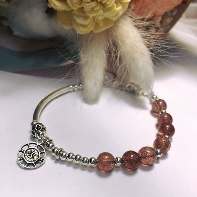 天然草莓水晶珠手環~925純銀設計款手鍊~客製化商品~心願925蠶絲蠟線手作坊