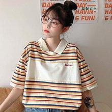 小香風 短袖T恤 時尚穿搭 韓版 設計感彩色條紋字母寬松POLO領短袖T恤上衣女裝