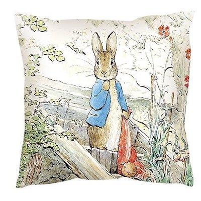 【玫瑰物語】比得兔抱枕家族抱雙面抱枕47x47cm家族靠枕彼兔抱枕兒童交換禮物含枕心正版授權台灣製寢飾沙發抱枕卡通花草