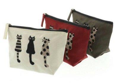 ❈花子日貨❈日本製 正版商品 ATSUKO MATANO 保野溫子 貓咪刺繡 化妝包 小物包