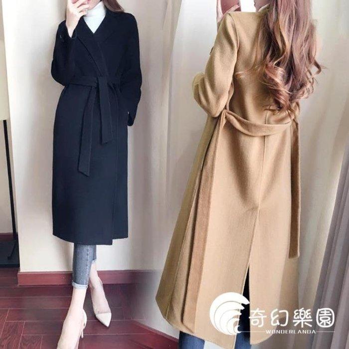 流行毛呢外套女中長款森系大衣2018秋冬季新款韓版赫本風修身妮子