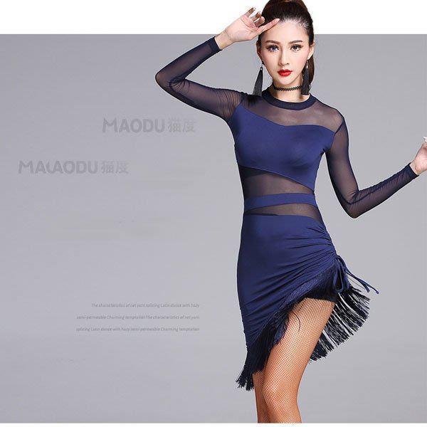 5Cgo【鴿樓】會員有優惠 545036386331 春季新款拉丁舞蹈服裝女成人表演出練功比賽服連衣裙專業 拉丁舞衣