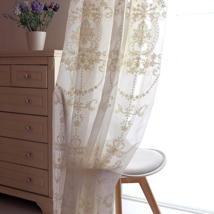 創意 居家裝飾 刺繡北歐簡約窗簾紗簾隔斷 客廳臥室陽臺 棉麻白色窗簾紗ins沙料