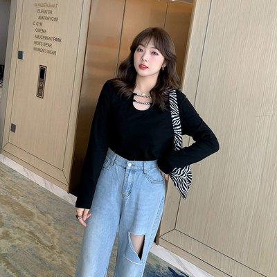 ✿plump girl ✿大尺碼女裝11/25新品~簡約純色打底T恤6010