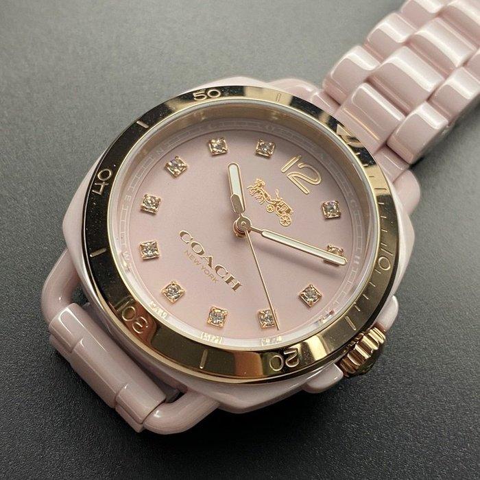 COACH蔻馳女錶,編號CH00002,34mm金色圓形陶瓷錶殼,粉紅色簡約, 水鑽圈錶面,粉紅陶瓷錶帶款