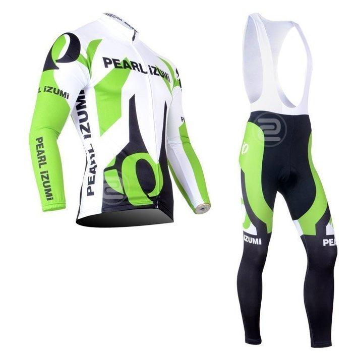 【綠色運動】2013款一字米pearl izumi綠 自行車衣長袖款 騎行服 單車服 吊帶腳踏車衣 車衣車褲背帶長套裝