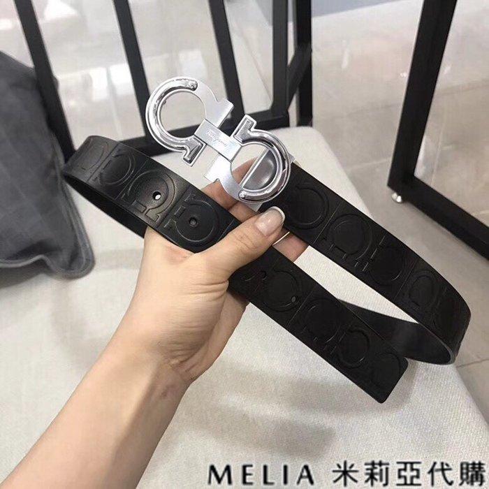 Melia 米莉亞代購 SALVATORE FERRAGAMO 菲拉格慕 19ss 春季新品 黑色logo壓紋 銀色鋼扣