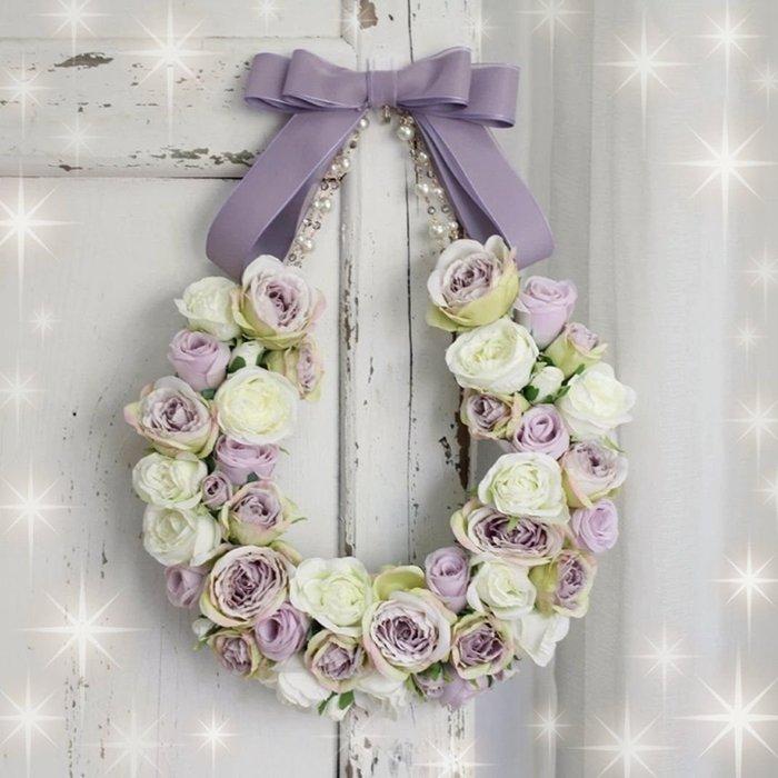 粉紅玫瑰精品屋~高檔仿真玫瑰繡球花花環~