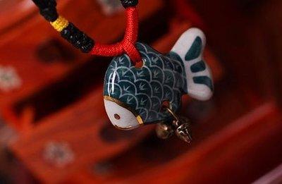 *覺品*【多寶魚土陶項鍊】中國風陶瓷/民族風情/手工個性飾品