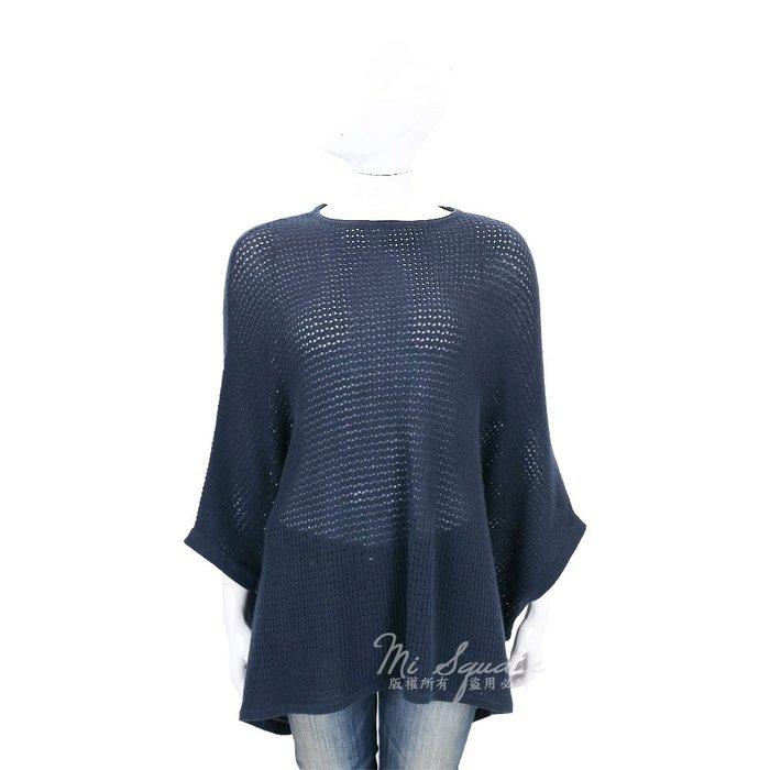米蘭廣場 ALLUDE 深藍色洞洞針織喀什米爾斗篷(100%CASHMERE) 1710082-34