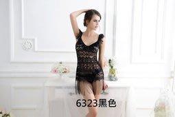 黑色蕾絲拼接流蘇性感睡衣 游戰薄紗制服誘惑 三色 6323