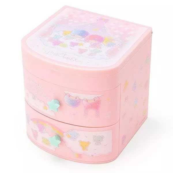 【東京家族】kiki&lala雙子星 彩虹熊系列 桌上型置物櫃 化妝鏡 收納盒 梳妝盒