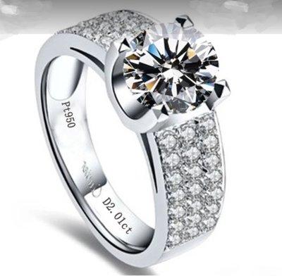 時尚韓版飾品 925純銀鍍鉑金指環 鑲...
