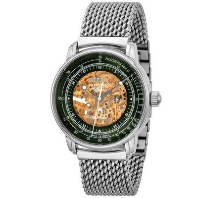 ZEPPELIN 齊柏林飛船 8656M-4 手錶 40mm 機械錶 德國錶 綠色面盤 銀色鋼錶帶 男錶女錶
