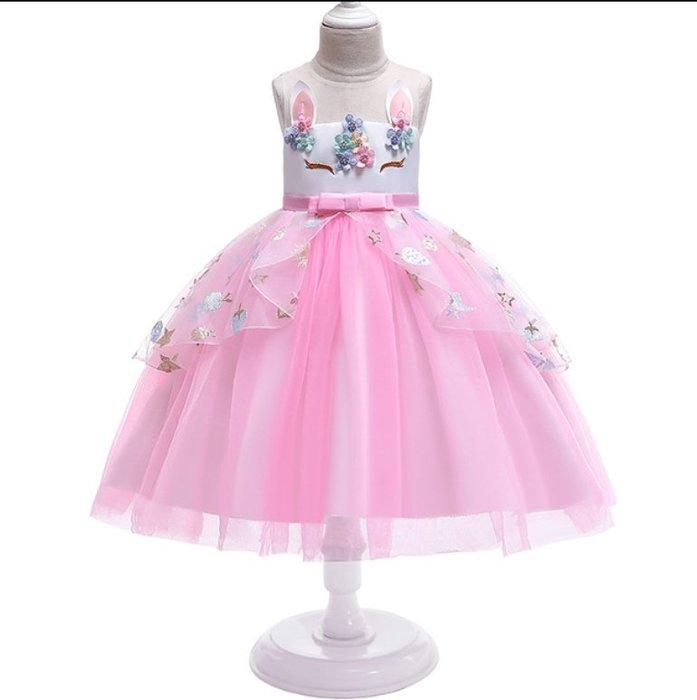 •*~ 辣媽咪衣飾小舖 ~*•❤童裝系列❤K970503韓版大童夏款甜美清新時尚蓬蓬蕾絲亮片可愛公主禮服公主洋裝