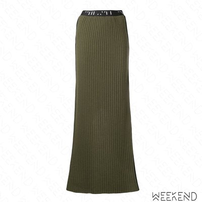 【WEEKEND】 UNRAVEL 後開岔 彈性 針織 半身裙 長裙 軍綠色 折扣