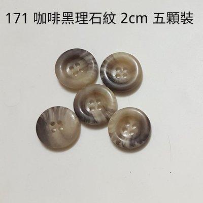(171)2cm 米灰理石紋四孔 *5顆裝 經典鈕扣組 手工配件材料