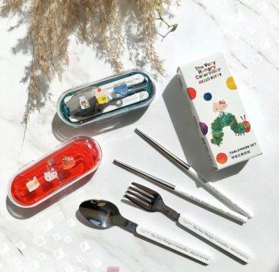 屈臣氏 點數 生活大玩家 kitty 毛毛蟲 帶著走餐具組 紅 綠2款