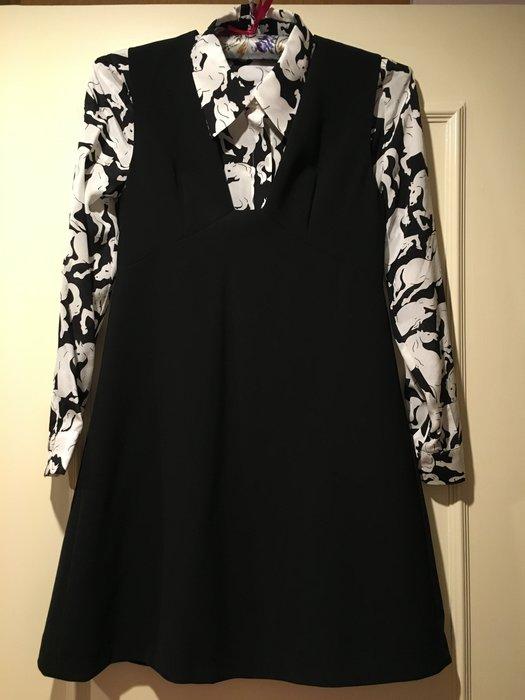 類Stella McCartney 黑白豹圖紋襯衫+背心裙