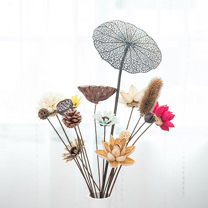爆款禪意干花花束套裝家居擺設手工插花藝蓮蓬棉花干果道具創意裝飾品#簡約#陶瓷#小清新