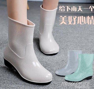 雨鞋女款女士中筒時尚女式雨靴防滑水鞋短筒膠鞋成人水靴套鞋DBX