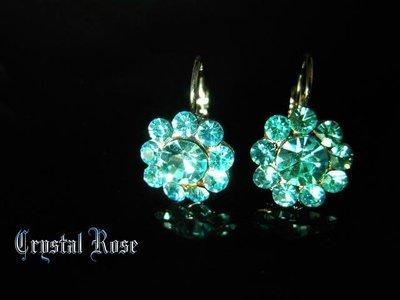 ※水晶玫瑰※ 水晶鑽 耳勾式耳環(DD422)~三件免郵